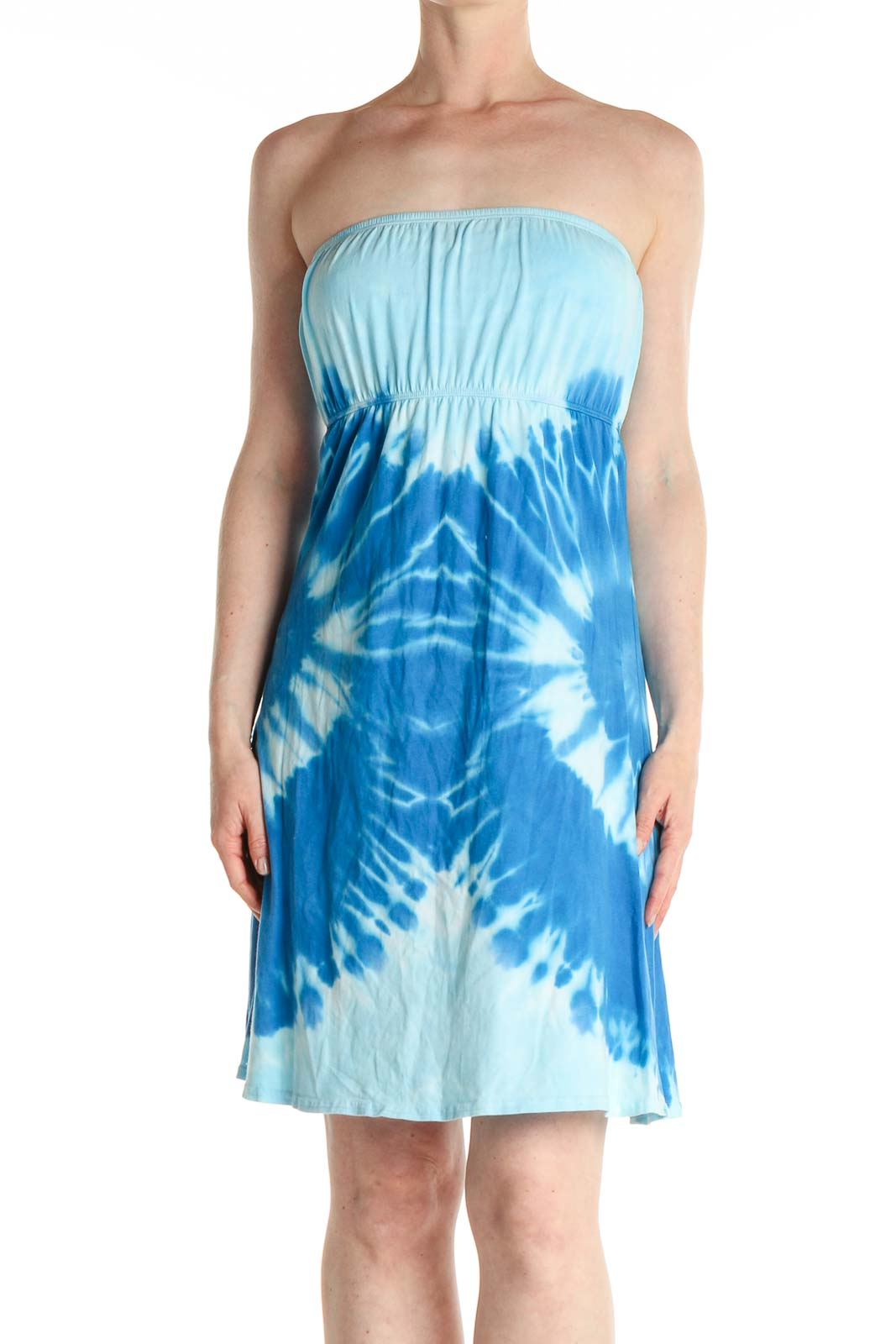 Blue Tie And Dye Holiday Fit & Flare Dress Front