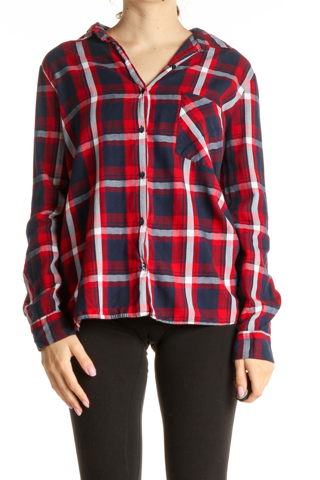 Blue Checkered All Day Wear Blouse Front