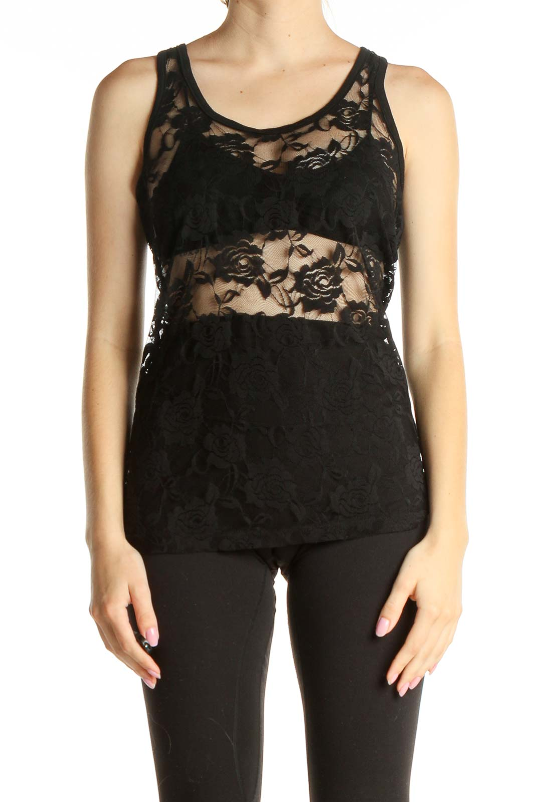 Black Lace Tank Top Front
