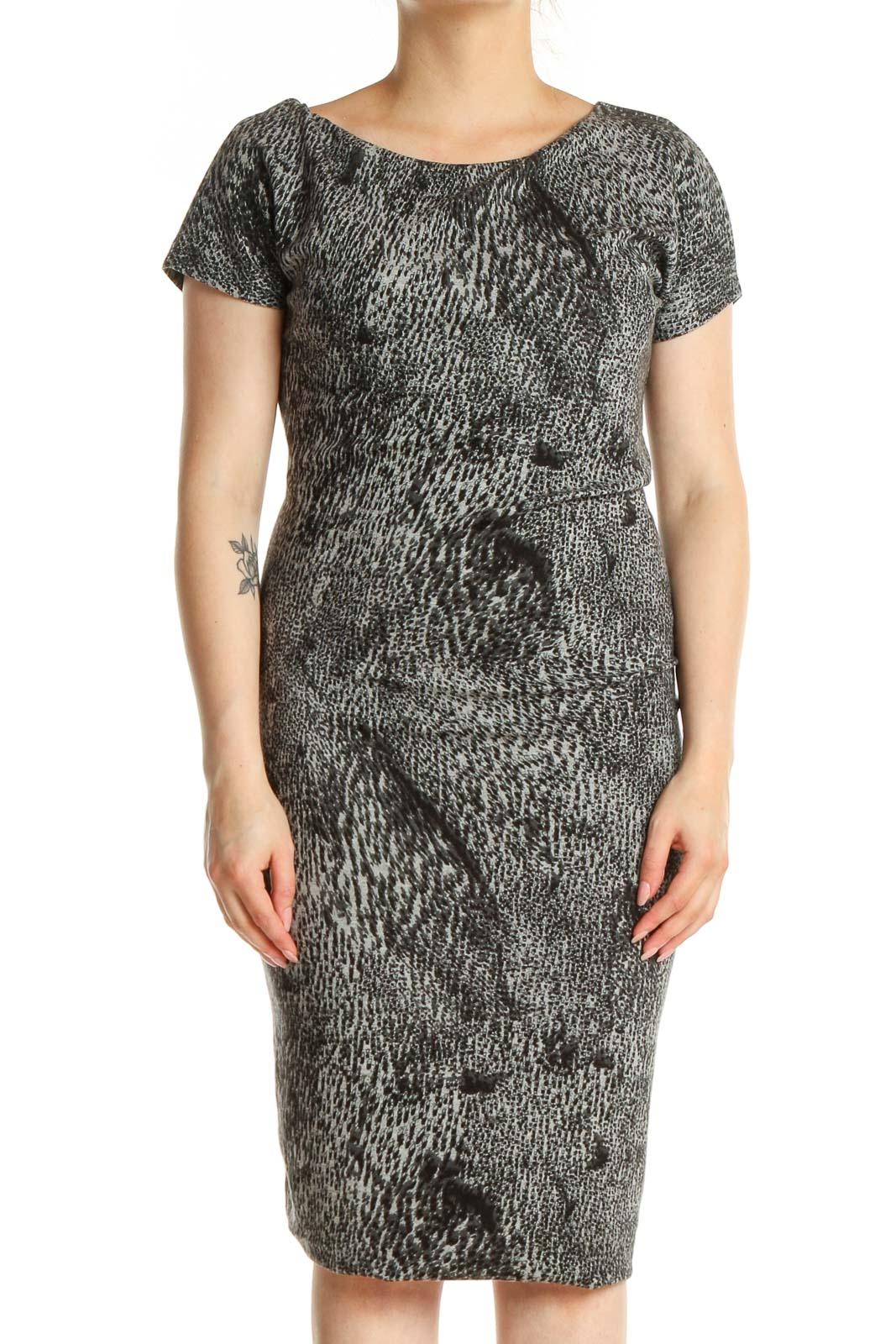 Gray Printed Sheath Dress Front