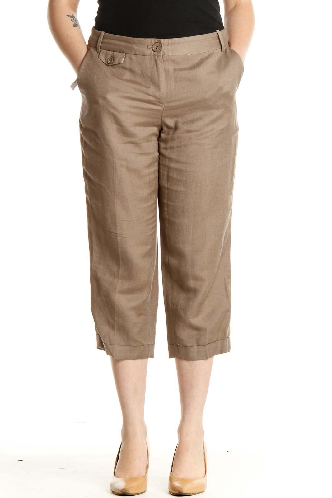Brown Casual Capri Pants Front