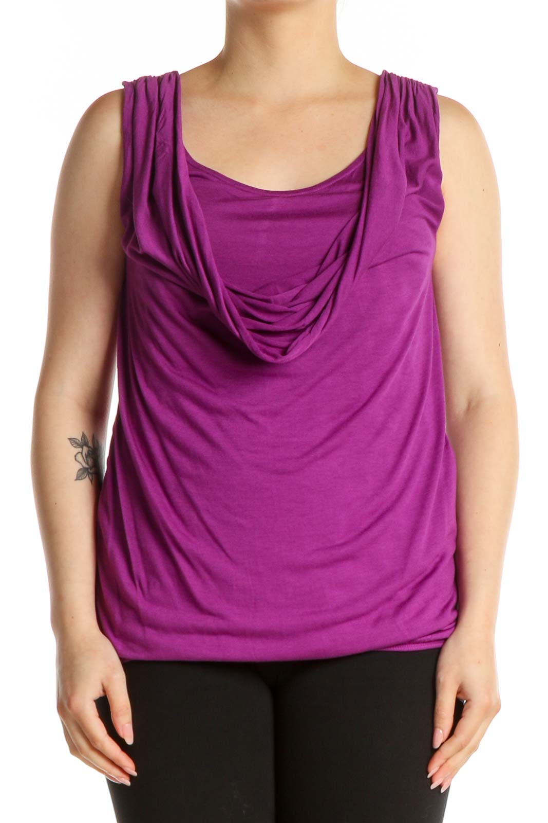 Pink Solid Chic Tank Top Front