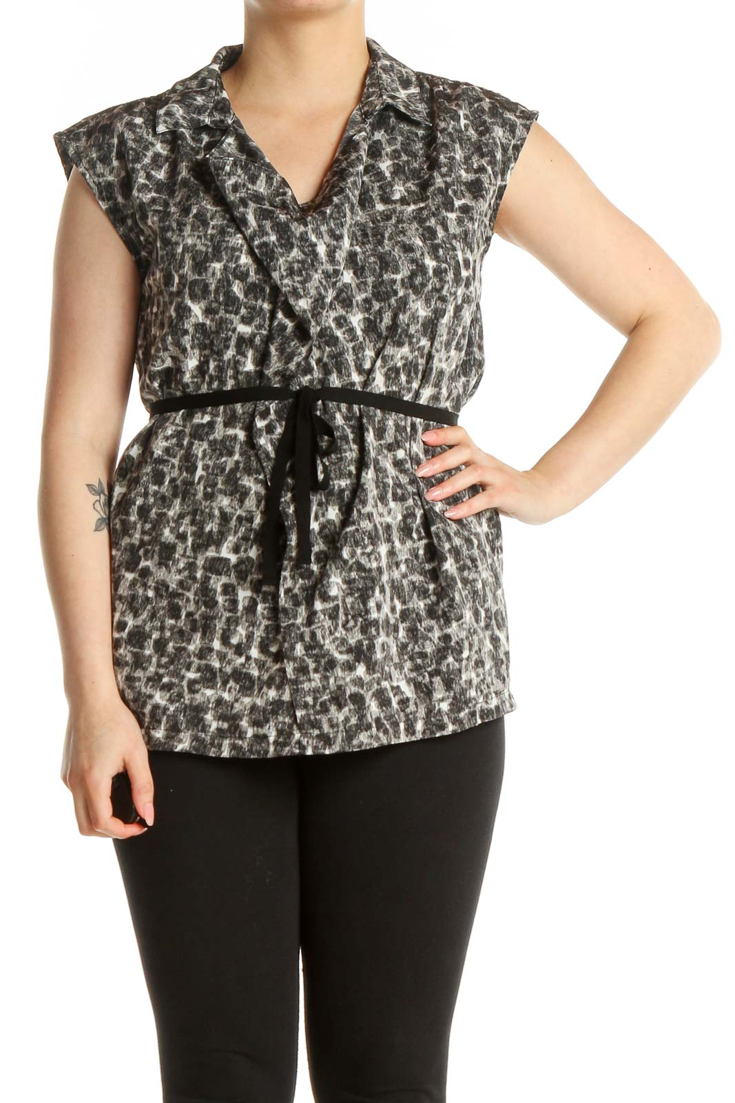 Gray Printed All Day Wear Blouse Front
