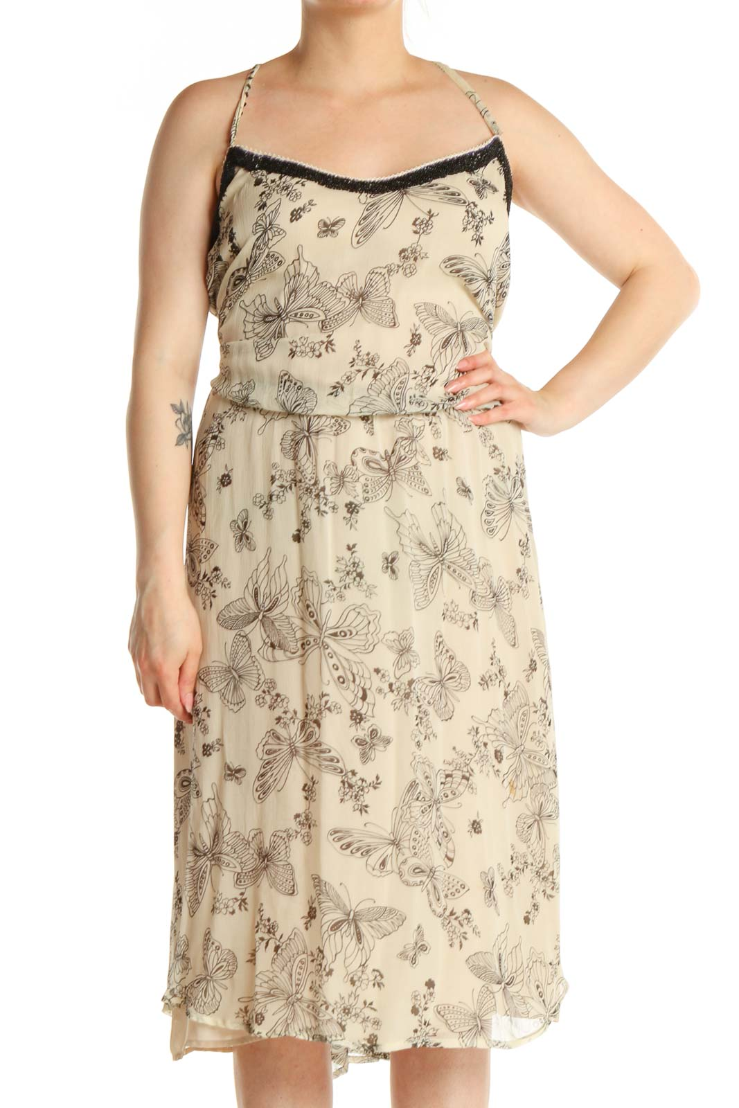 Beige Printed Holiday Fit & Flare Dress Front