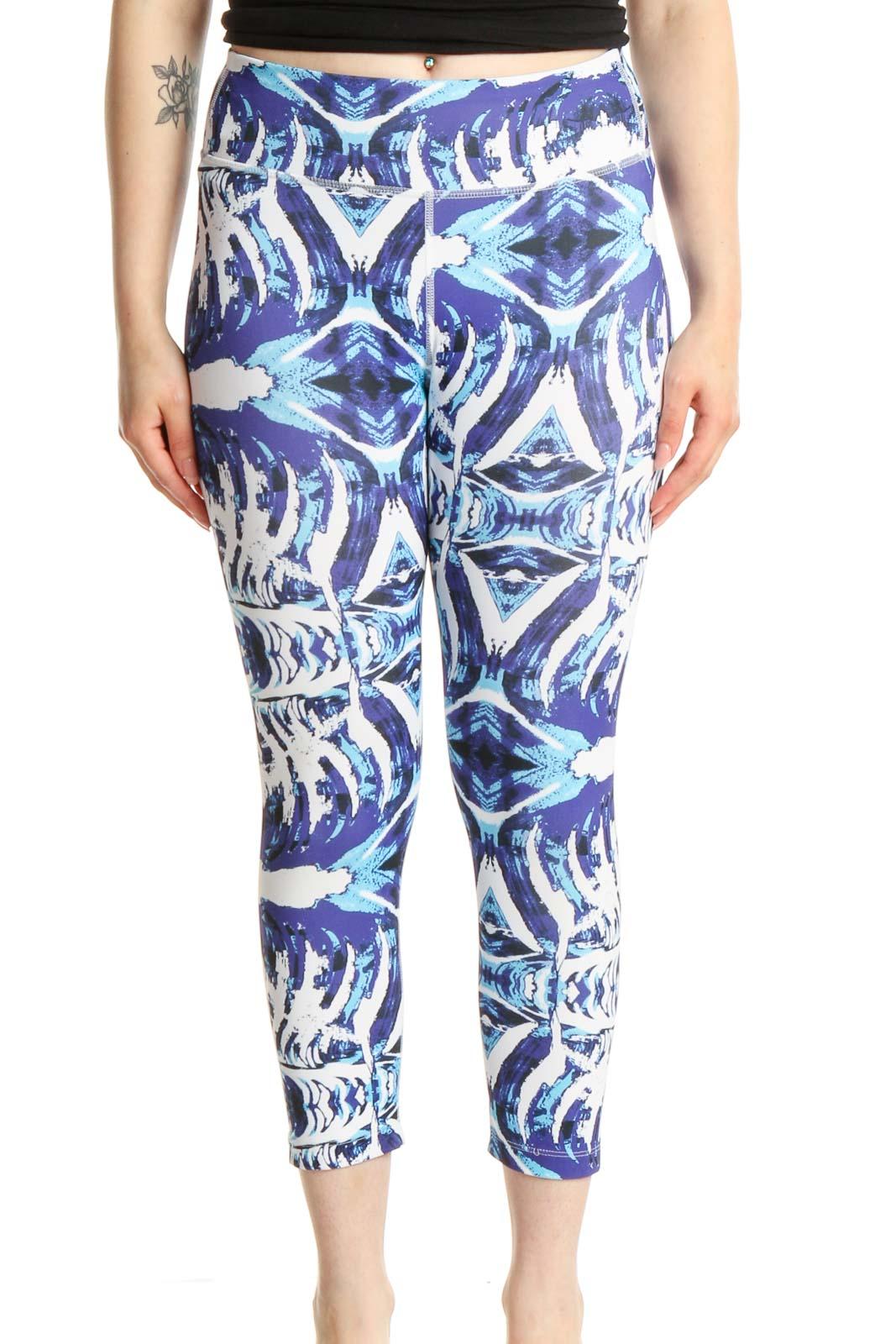 Purple Printed Activewear Leggings Front