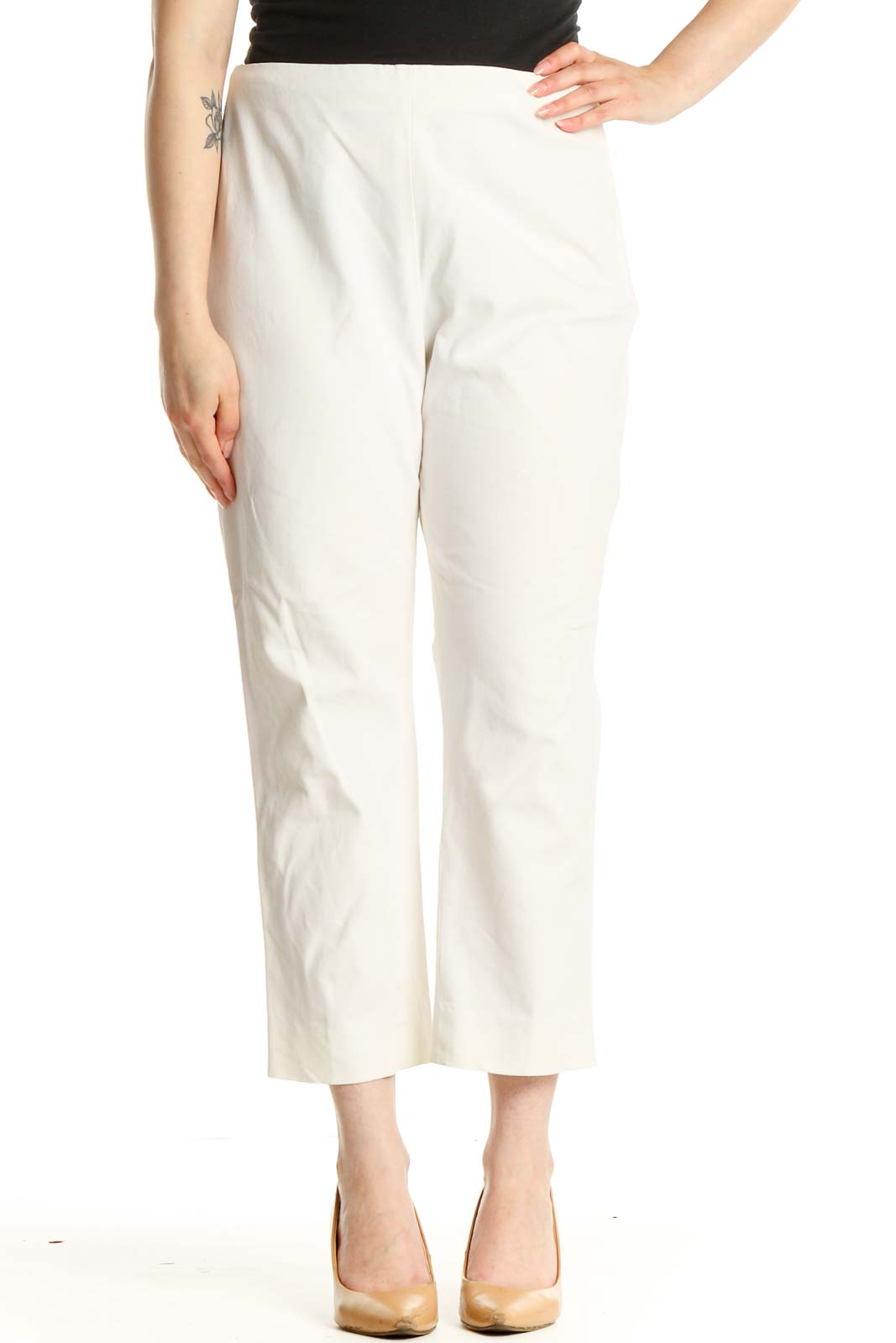 White Solid Casual Trousers Front