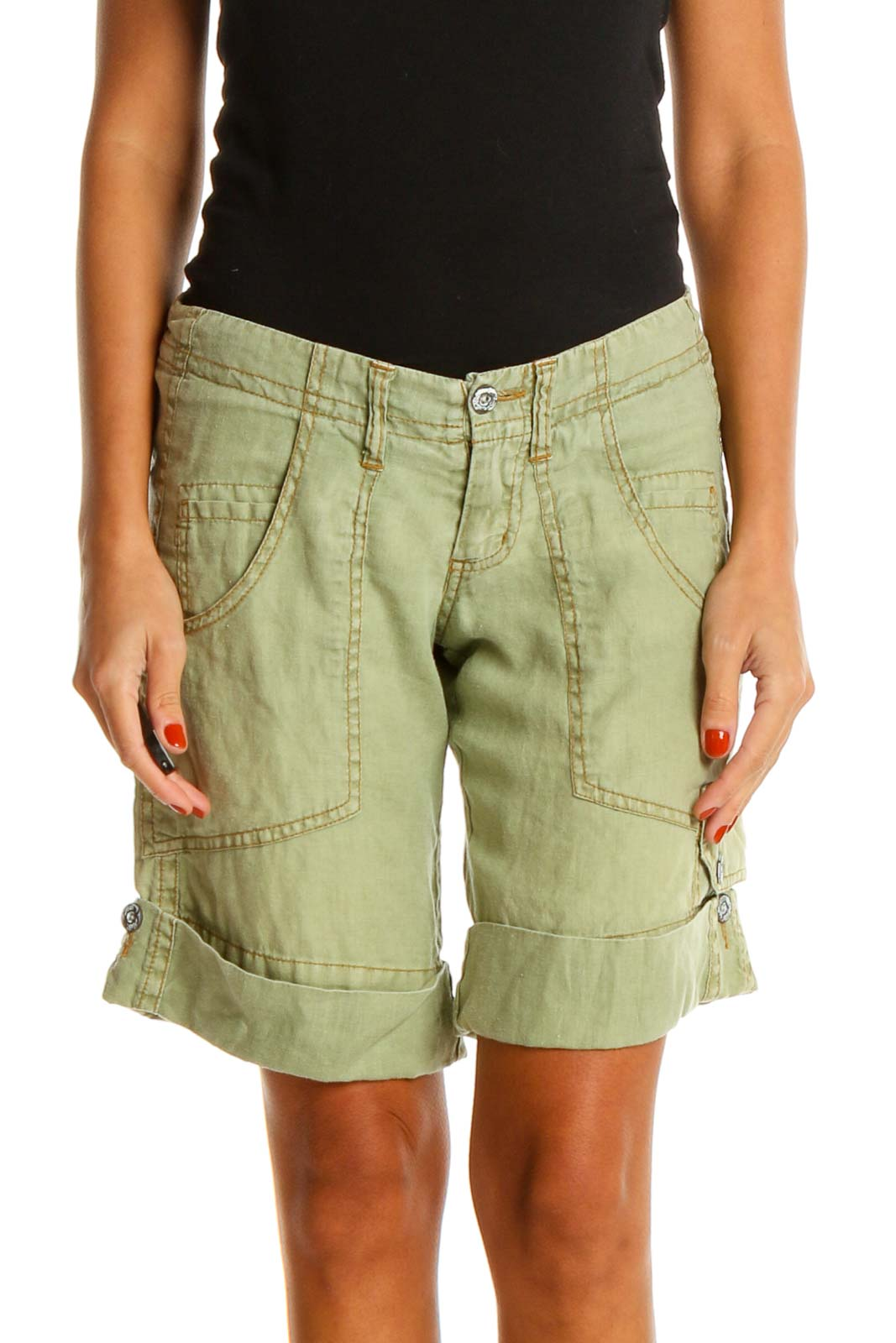 Green Casual Shorts Front