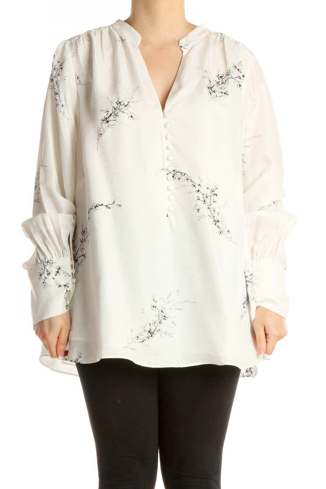 White Floral Print Bohemian Blouse Front