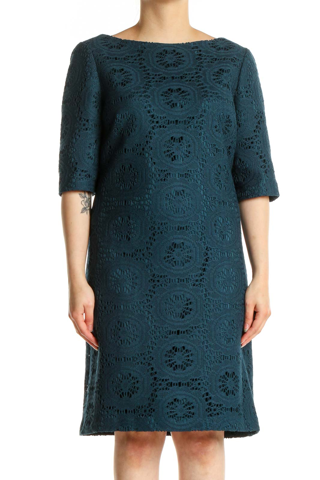 Blue Lace Day Shift Dress Front