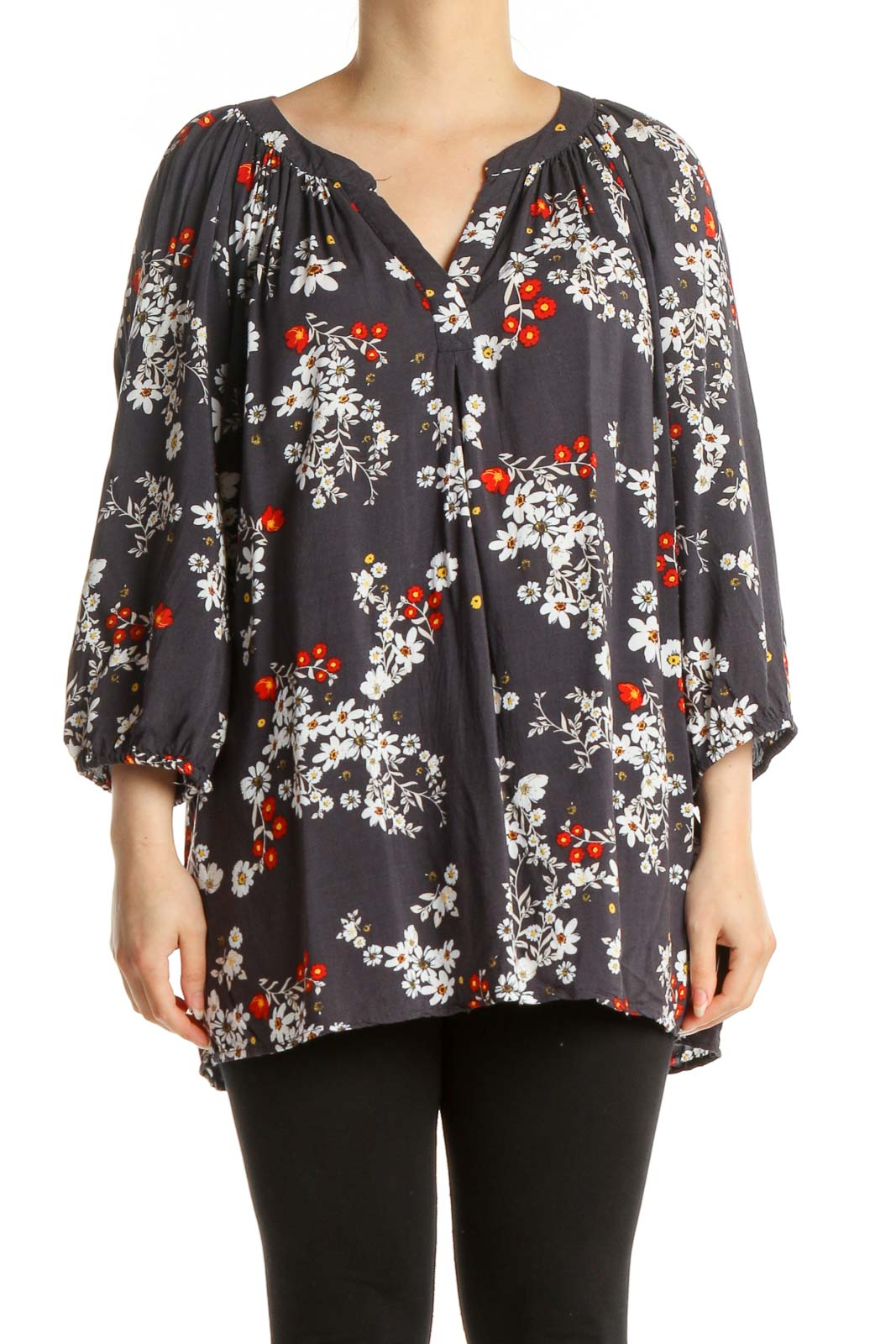 Gray Floral Print All Day Wear Blouse Front