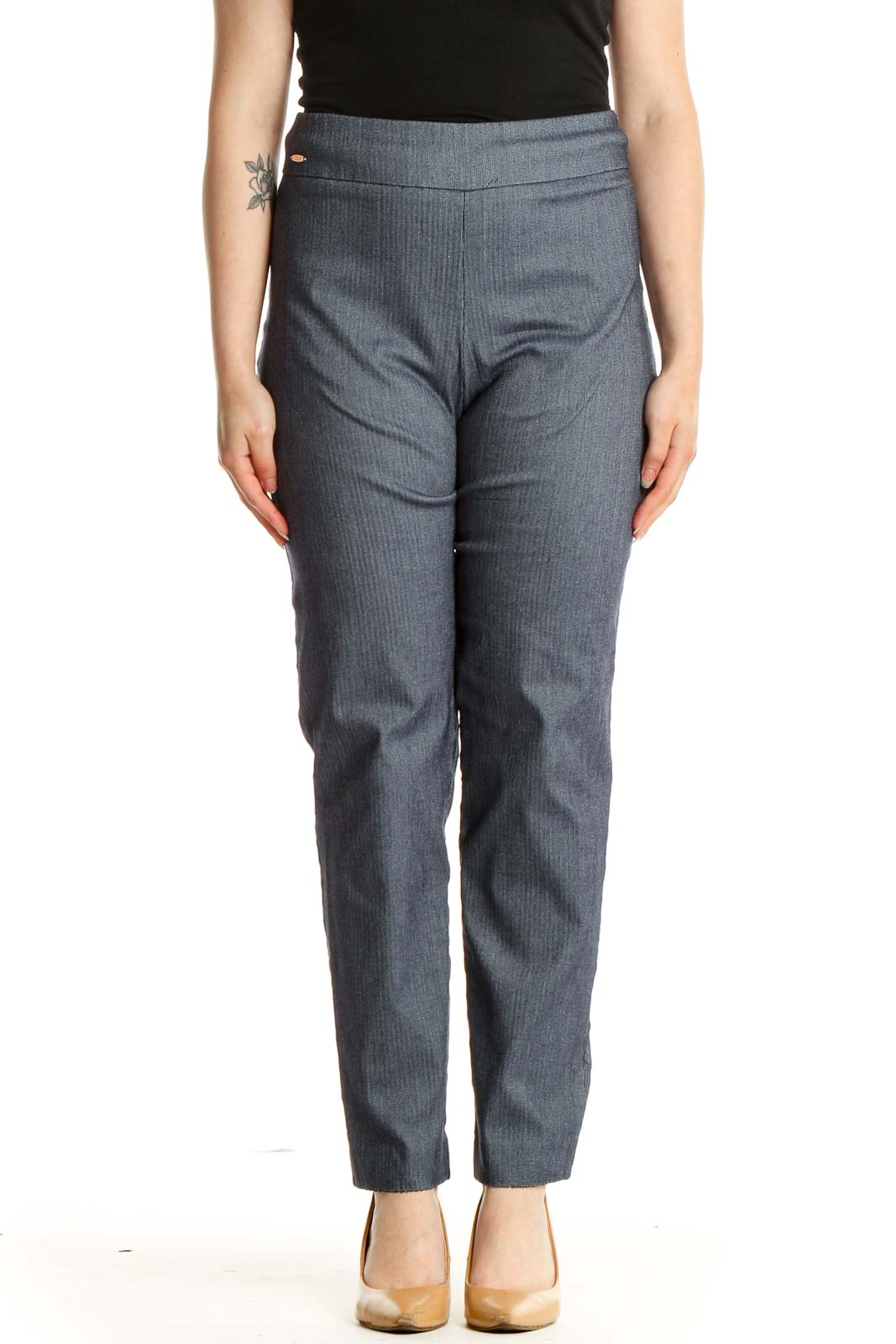 Gray Casual Trousers Front