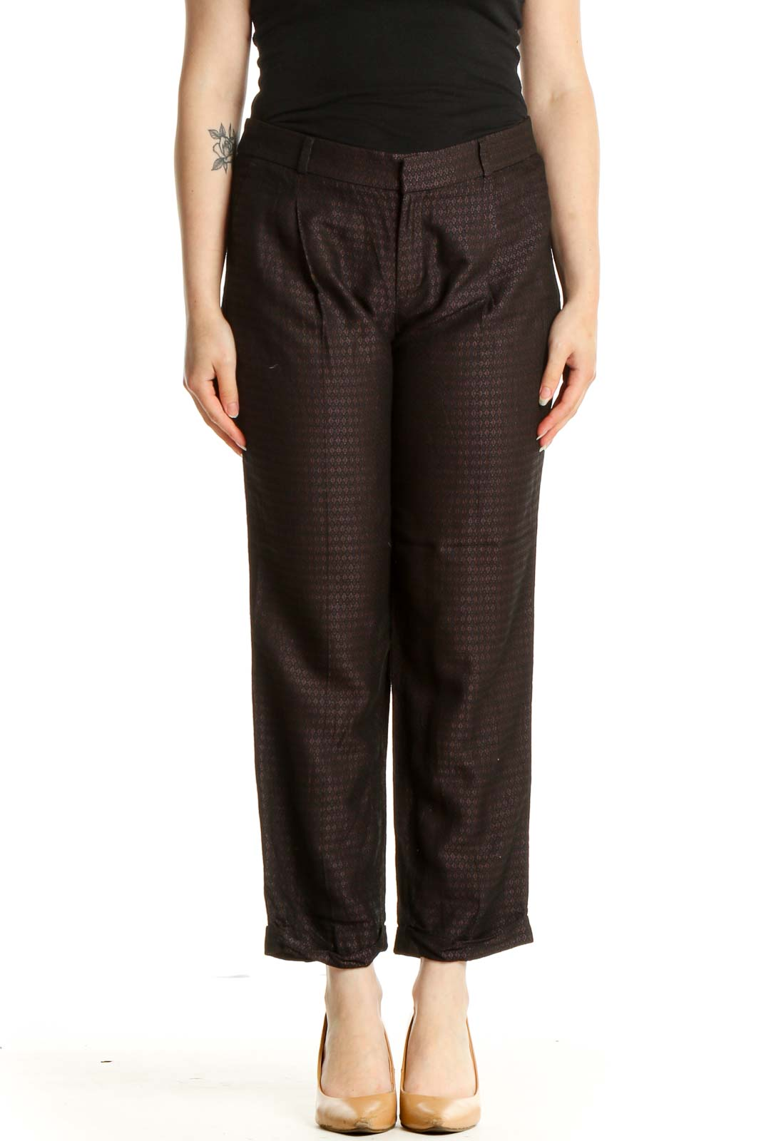 Black Textured Casual Trousers Front