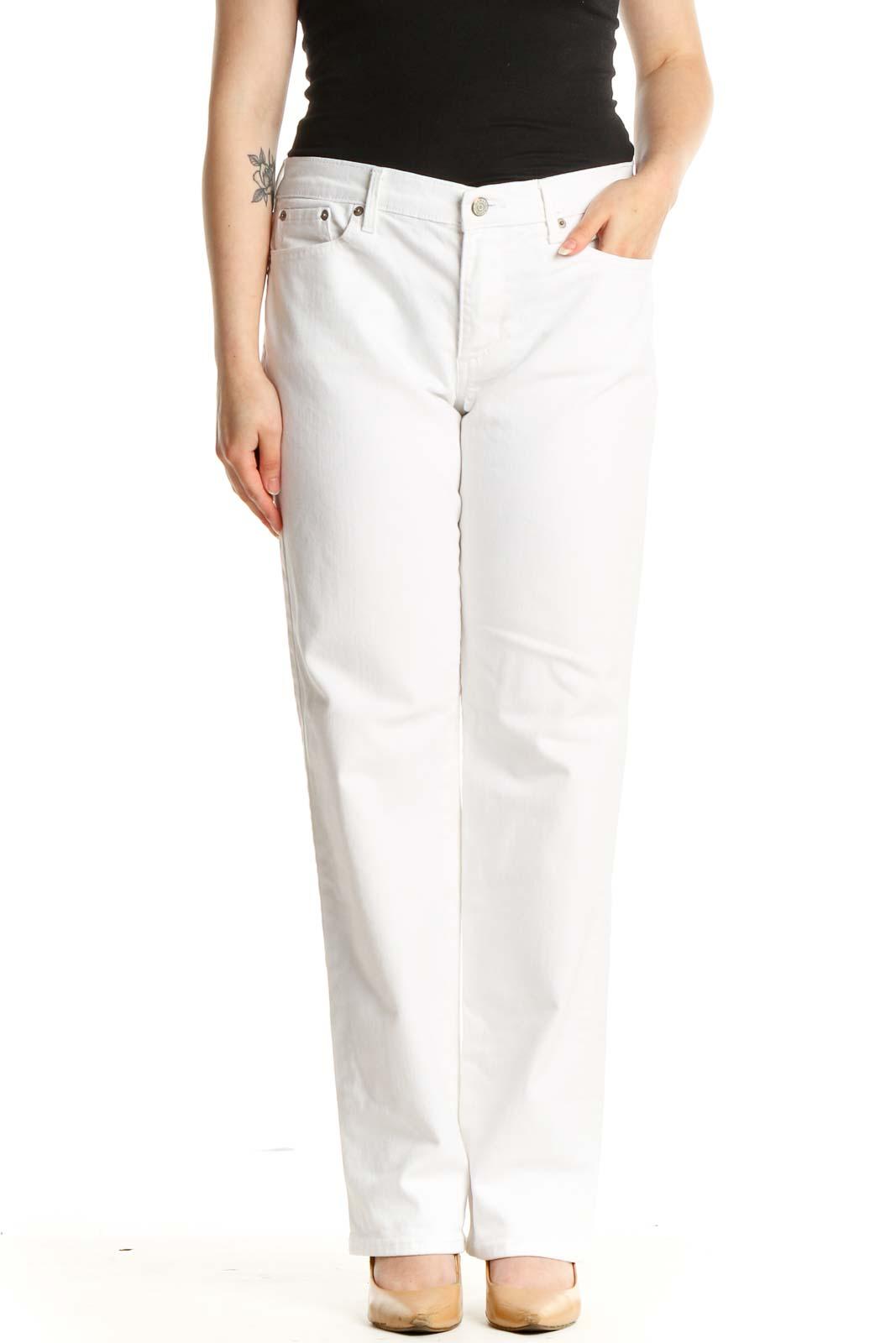 White Straight Leg Jeans Front