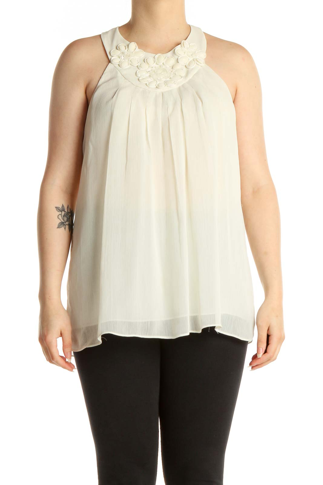 Beige Solid Holiday Blouse Front