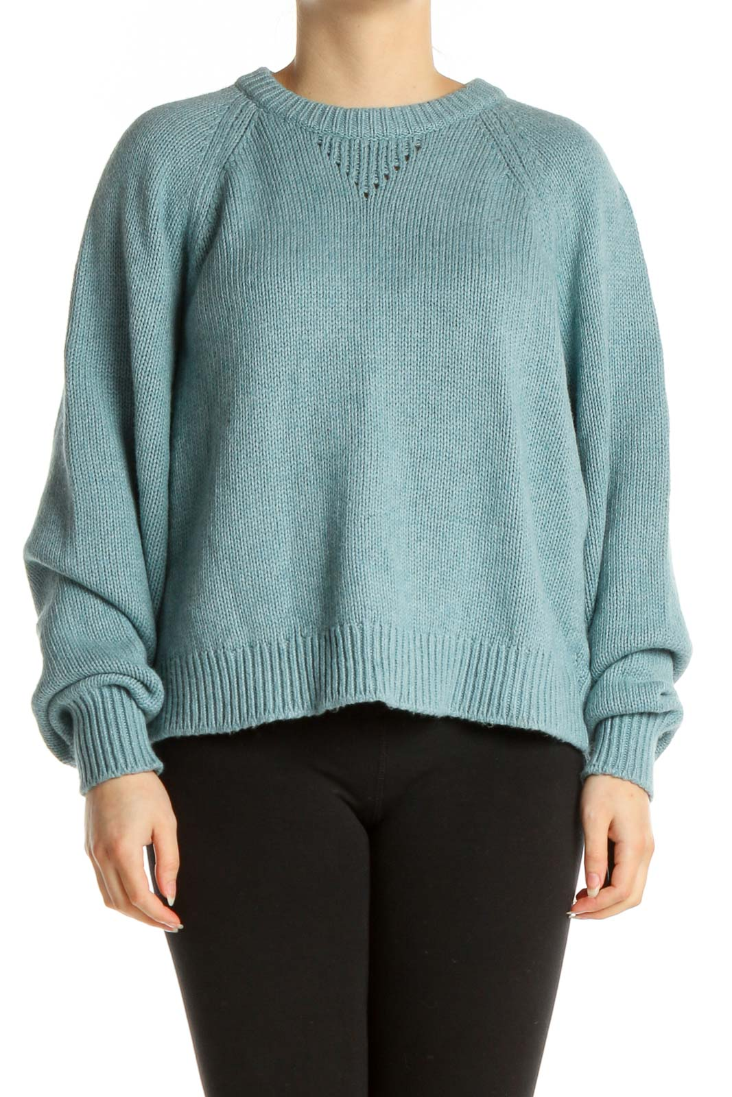 Blue Textured Classic Sweater Front