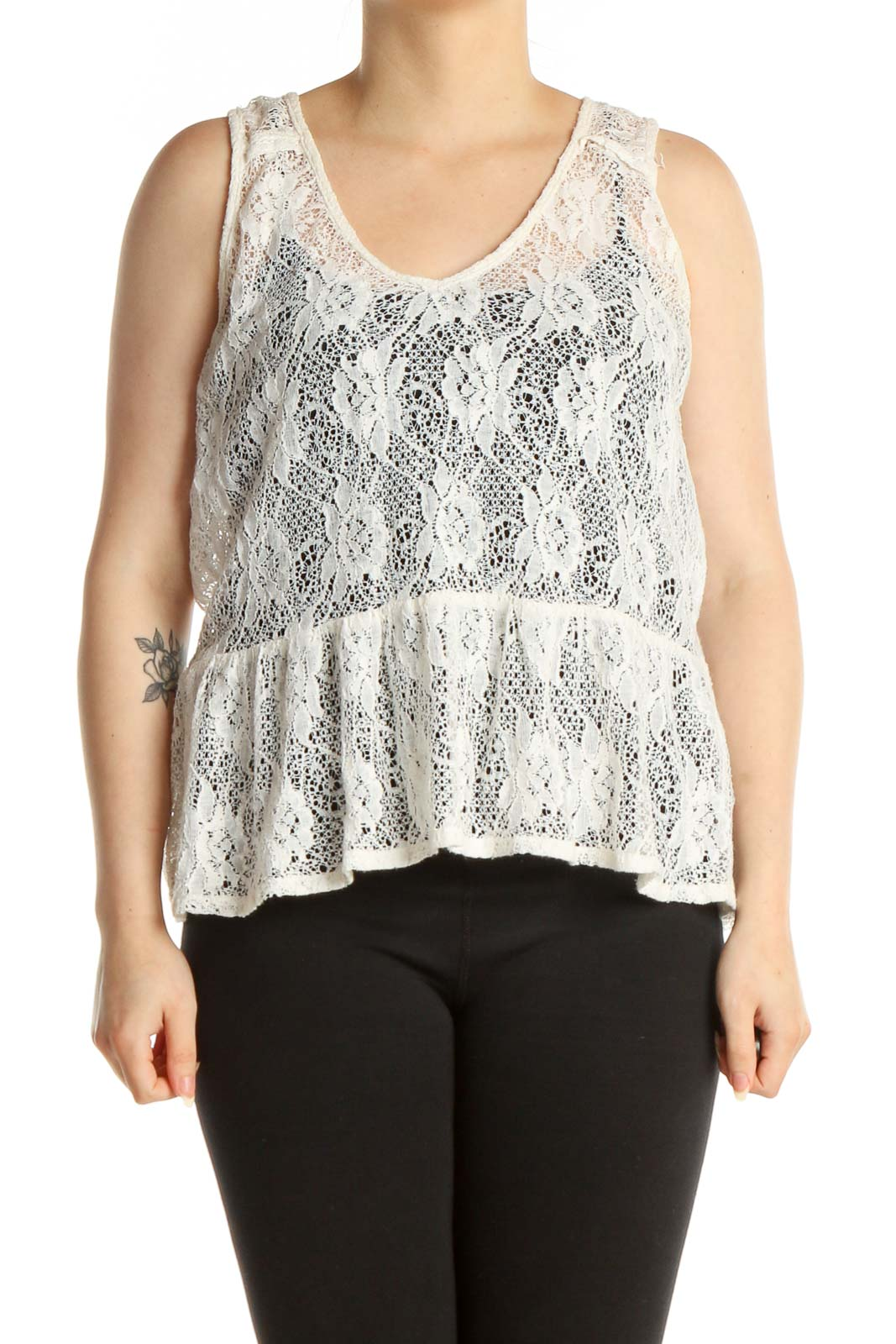 White Lace Tank Top Front