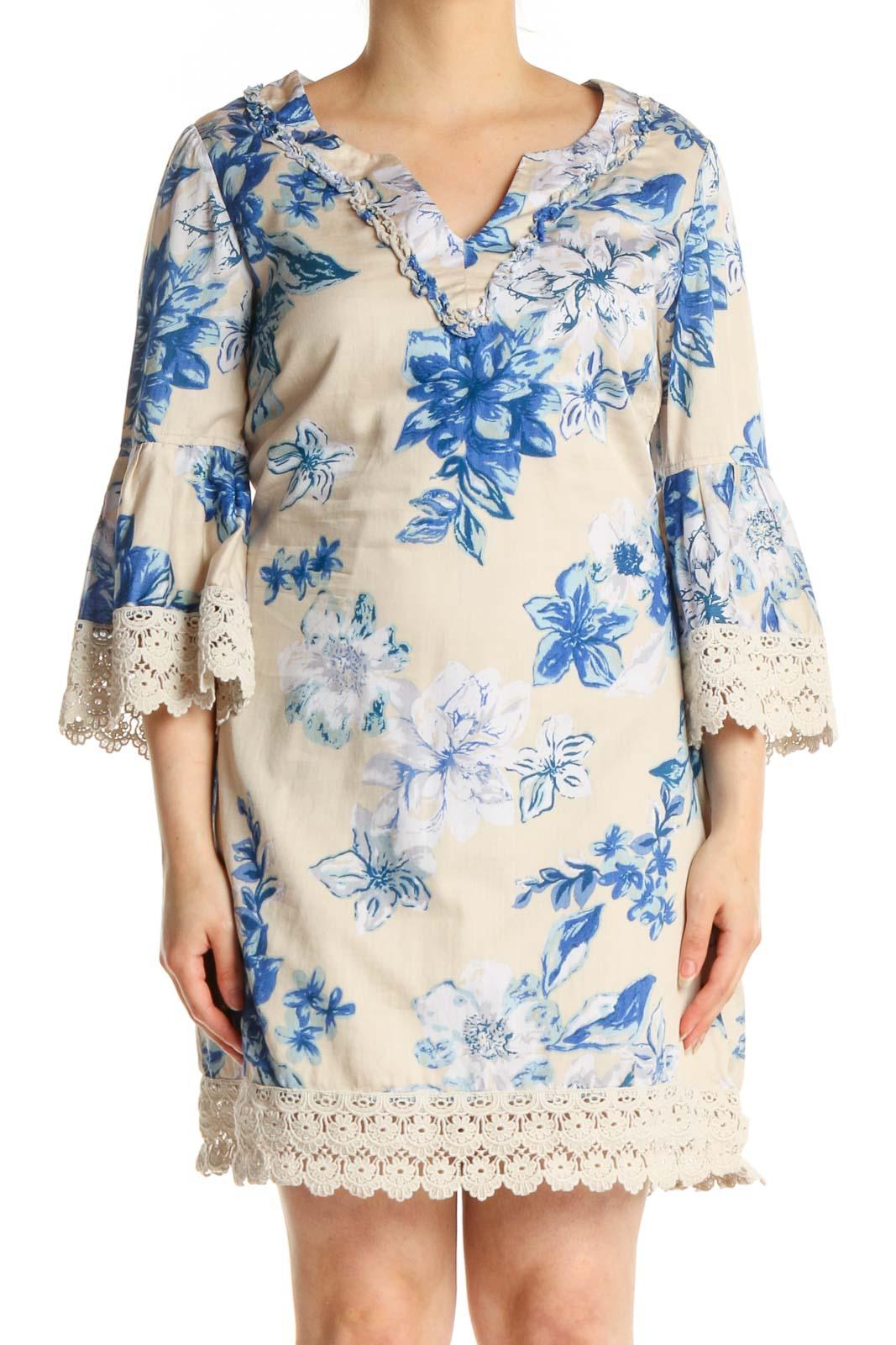 Beige Floral Print Day Shift Dress Front