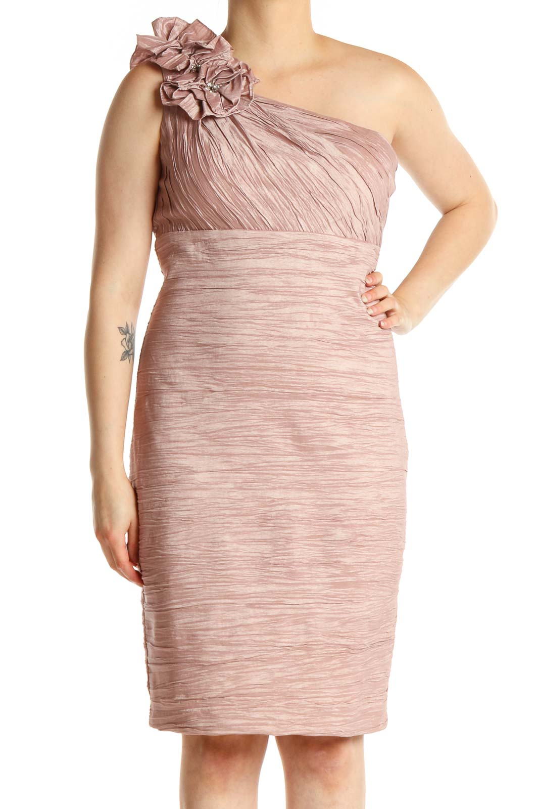 Pink Classic Sheath Dress Front
