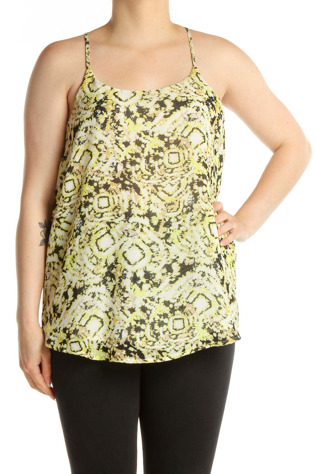 Green Printed Chic Top Front