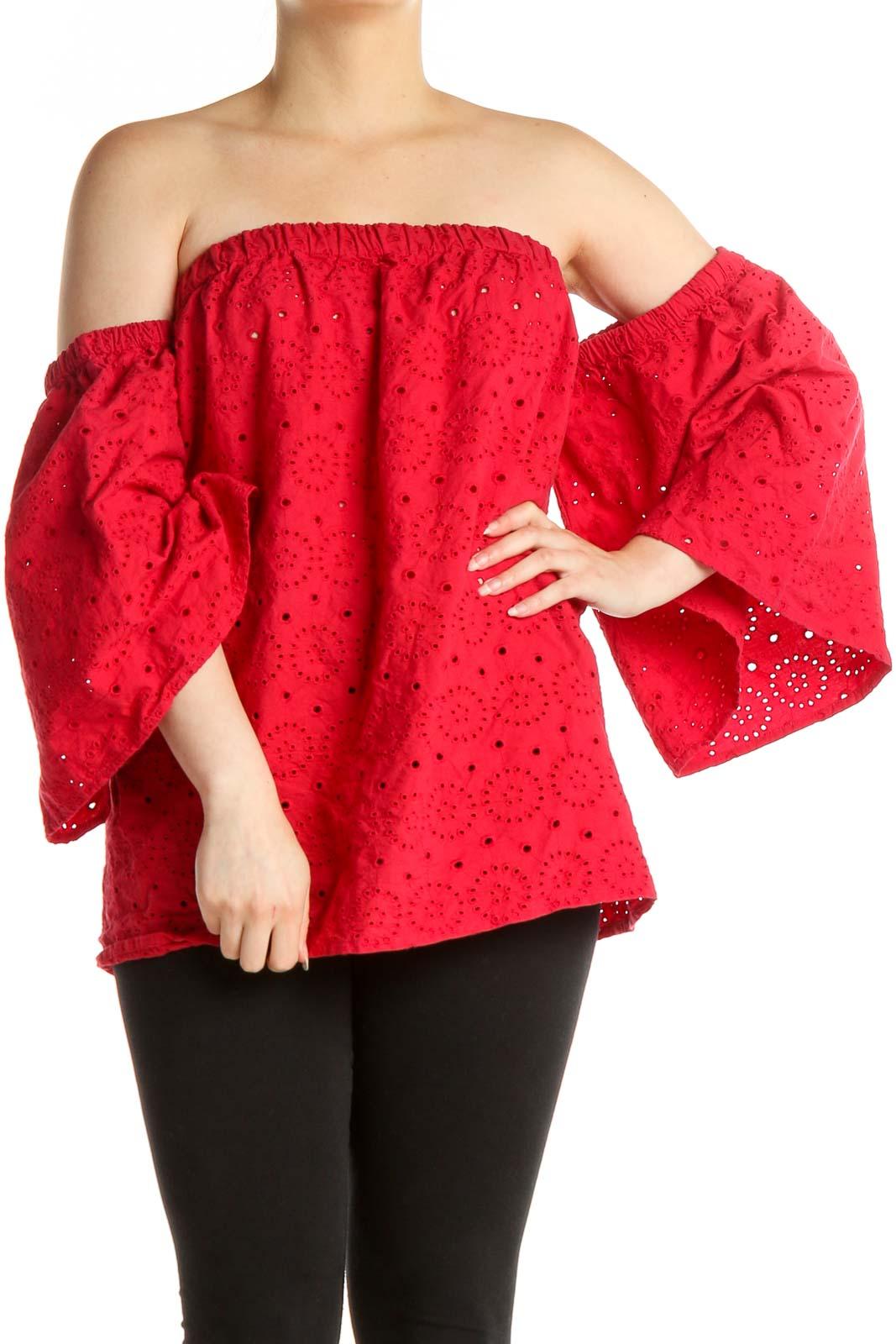 Red Lace Brunch Blouse Front