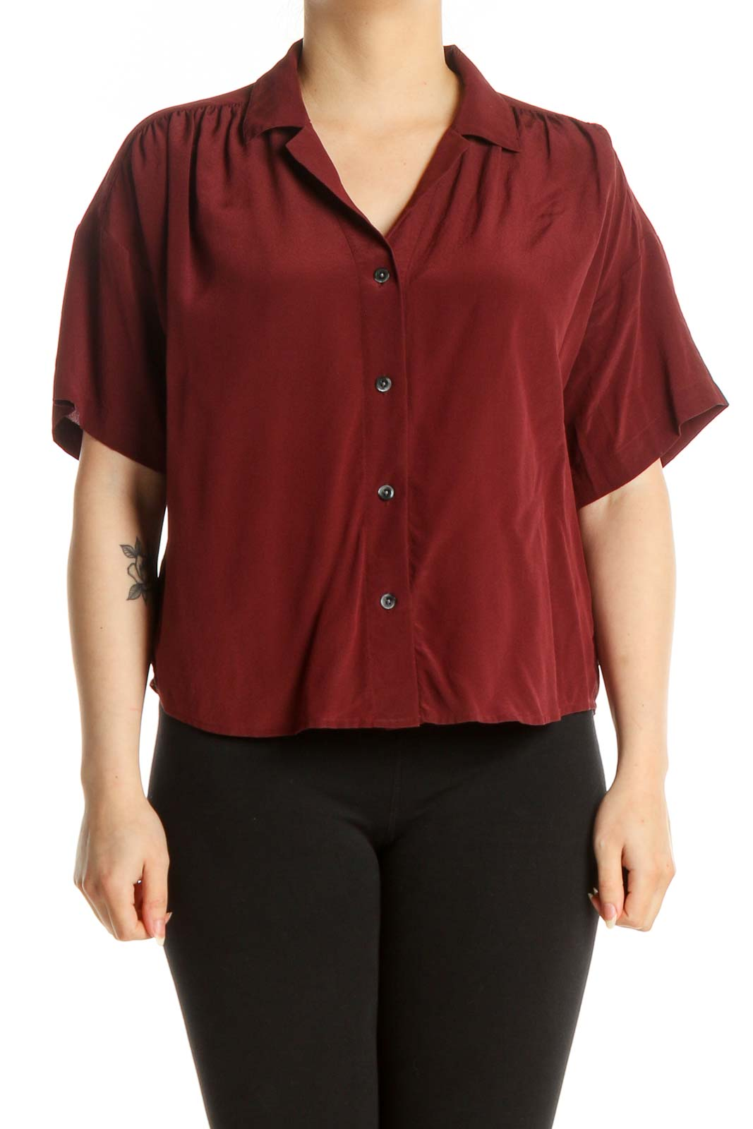 Red Solid Chic Shirt Front