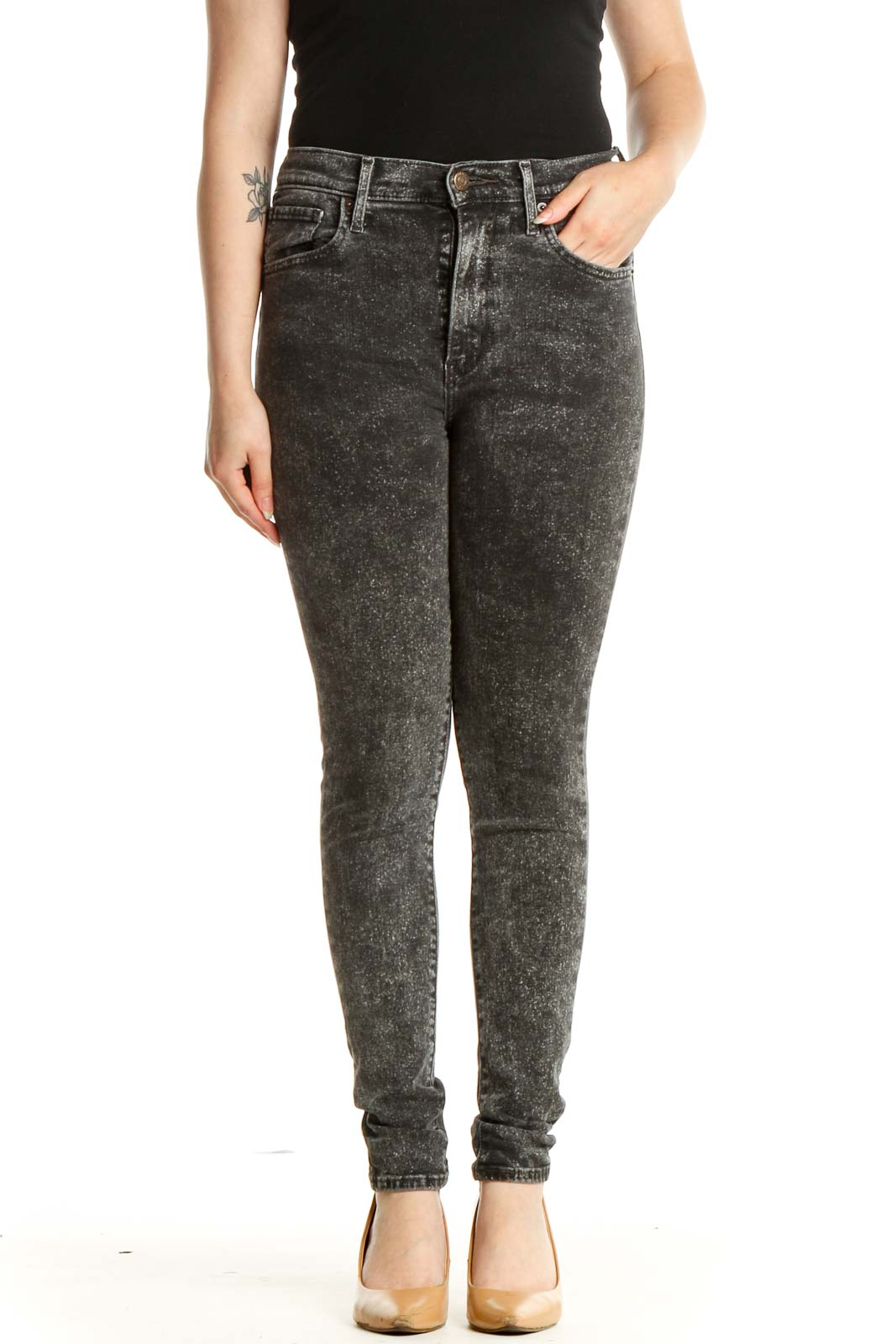 Gray Skinny Jeans Front