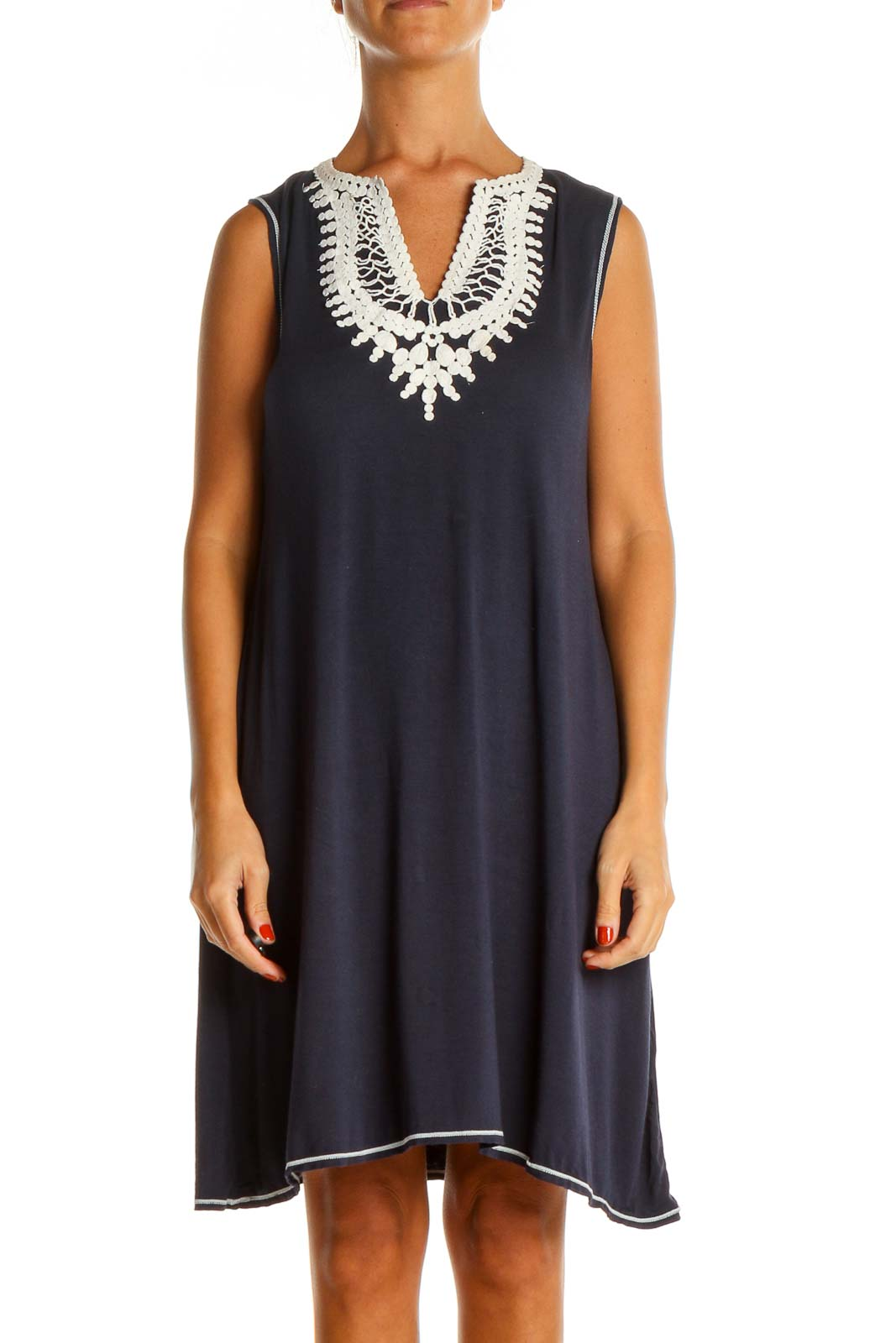 Blue Solid Chic Tank Dress Front