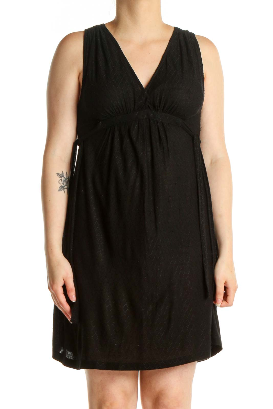 Black Solid Shift Dress Front