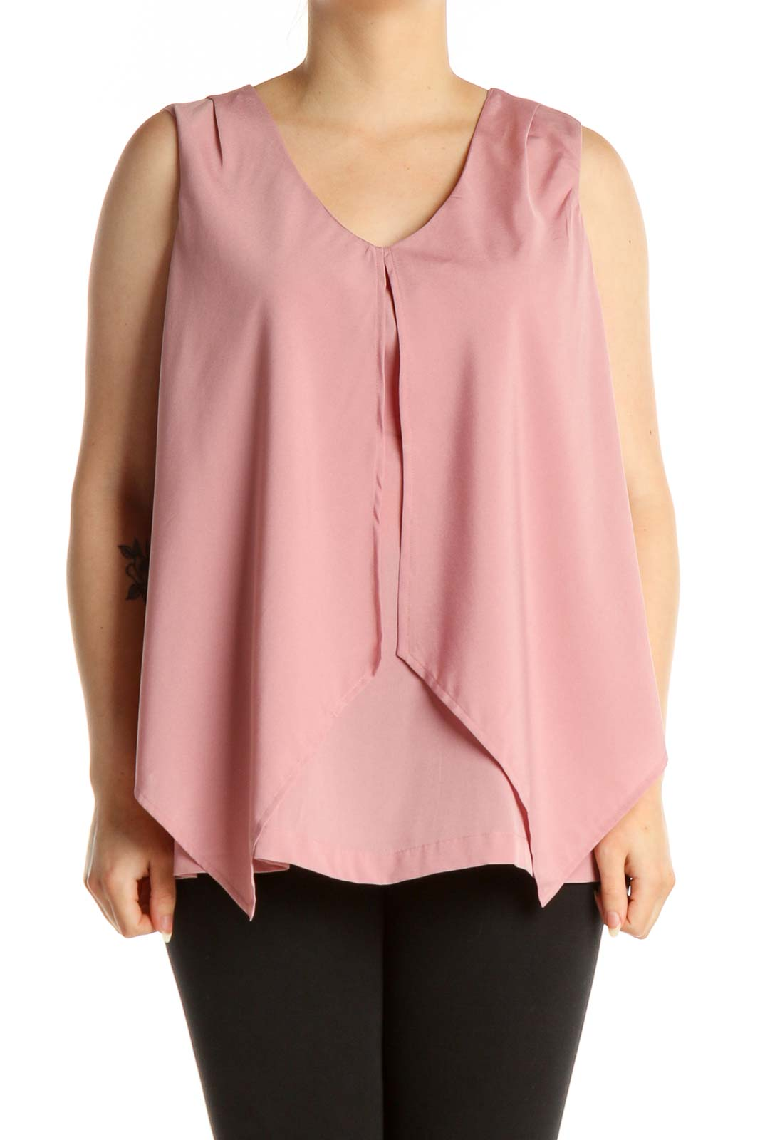 Pink Solid Blouse Front