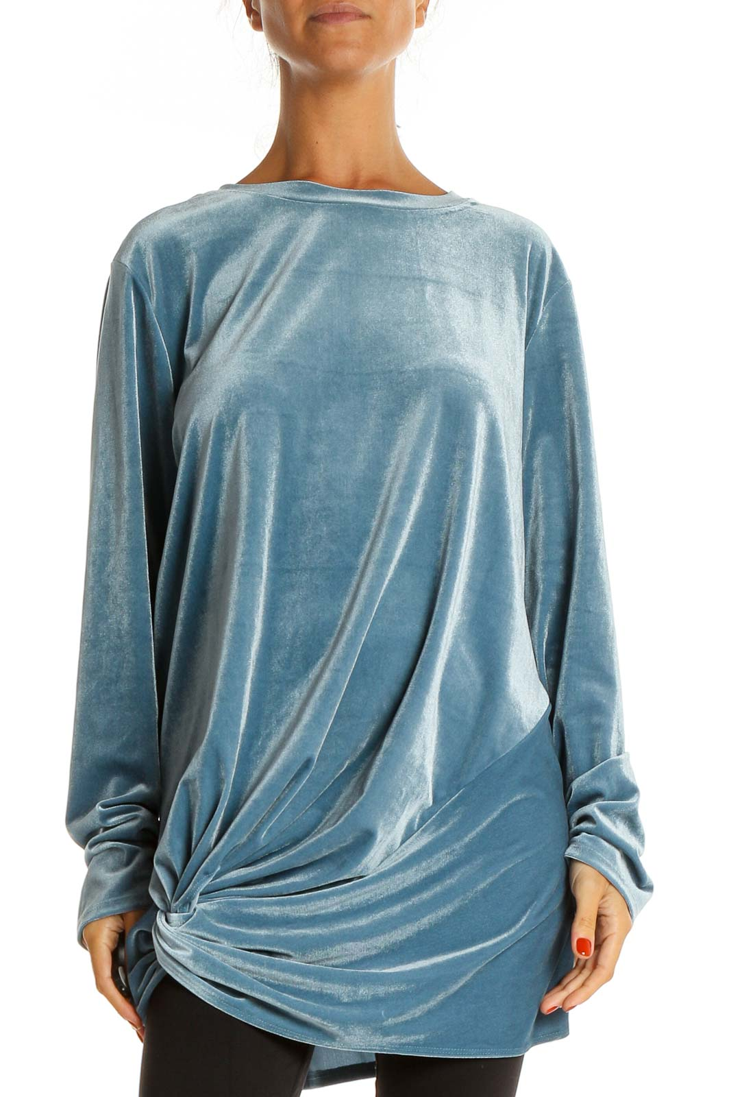 Blue Solid Velour Shirt Front