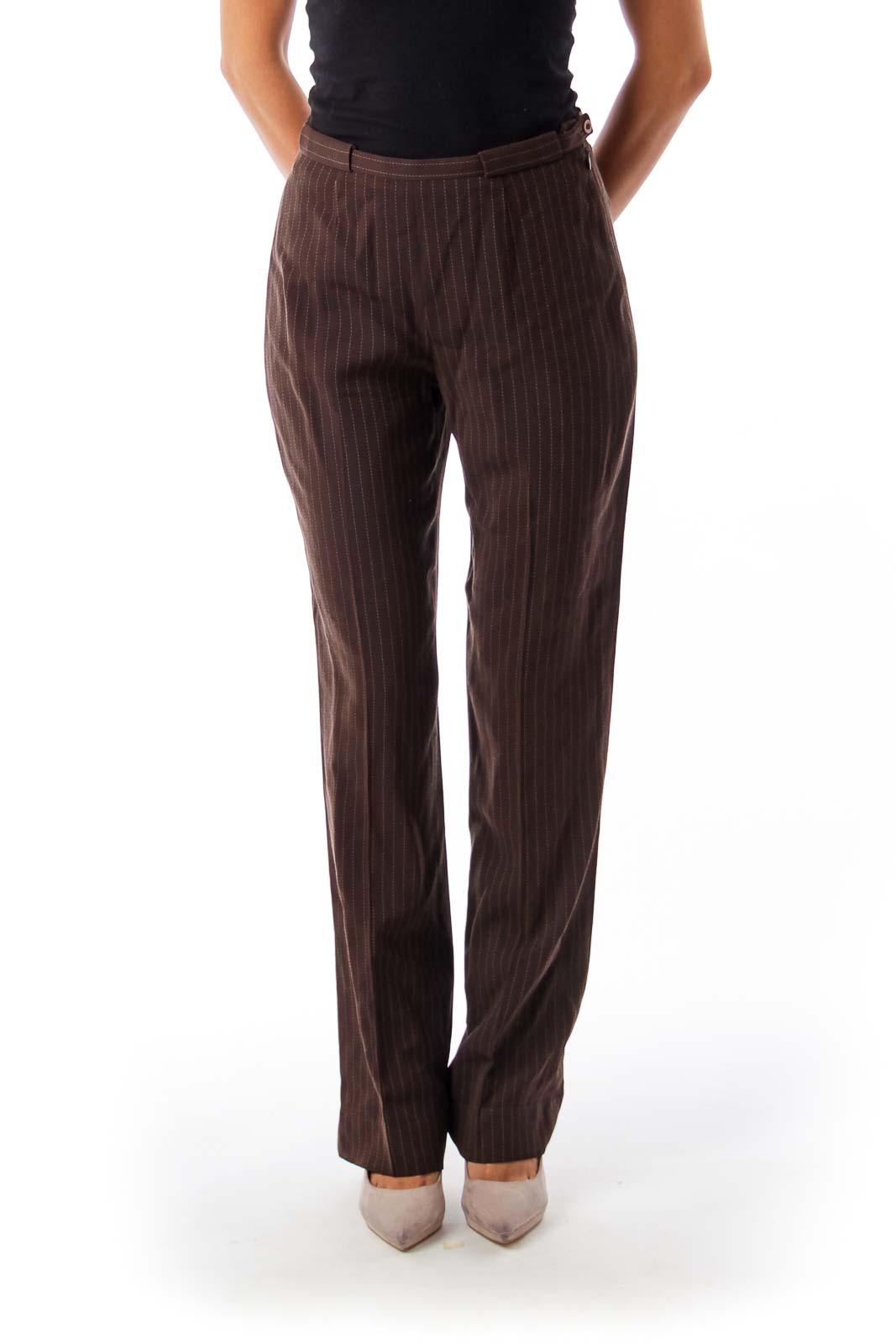 Brown Stripe Wide Leg Pants Front